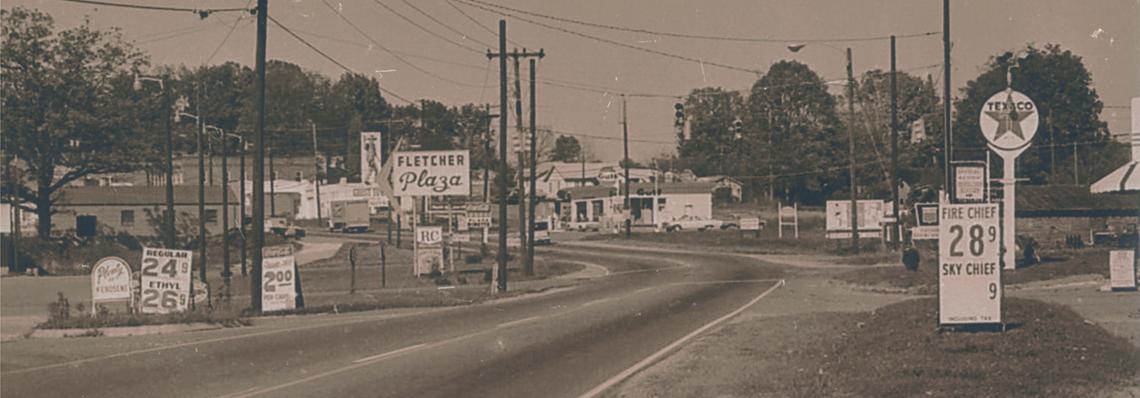 Fletcher NC Fall 1968; Fletcher Plaza; Texaco; Gulf; Gas is 28.9 cents a gallon
